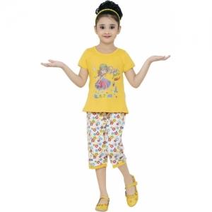 JUST TRENDY Yellow Cotton Girls Polka Print Kids Nightwear