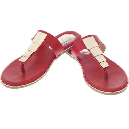 Khadim's Red Synthetic Slip-On Casual Chappal