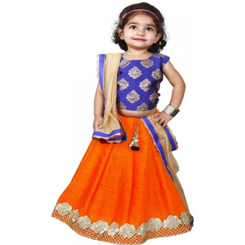 NEW CREATION Orange Ethnic Wear Embellished Dress