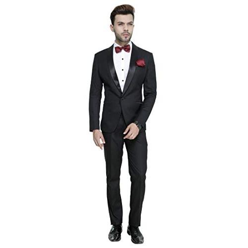 MANQ Black  Men's Slim Fit Tuxedo Suit