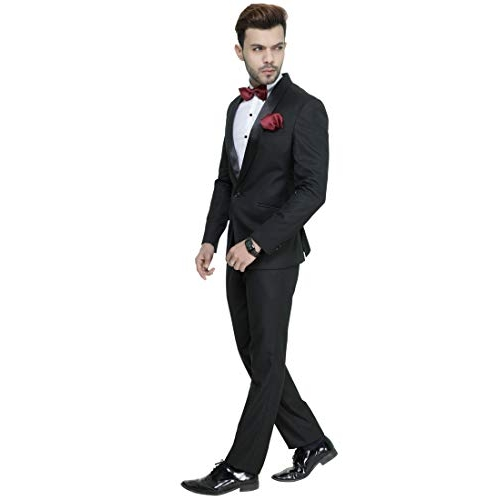 MANQ Black  Men's Slim Fit Tuxedo Suit