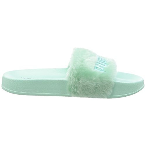 Puma Green Synthetic Fur Slide WNS Flip Flops