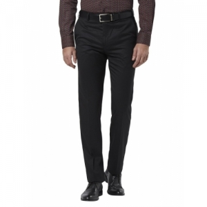 Raymond Black Polyester Viscose Regular Fit Trousers