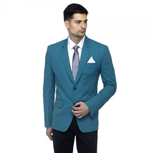 Favoroski Green Polyester Men's Blazers