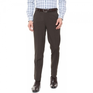Peter England Brown Viscose Regular Fit Formal Trousers