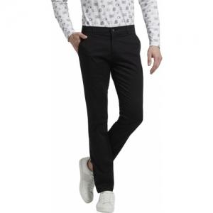 Parx Black Lycra Slim Fit Trousers