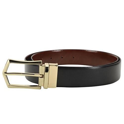 LOUIS STITCH Black Leather Reversible Belt