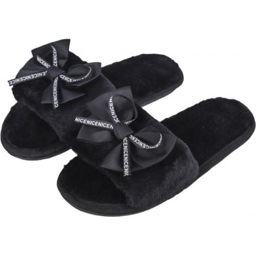 IRSOE Fur Black Synthetic Slip-On Casual Flip Flop