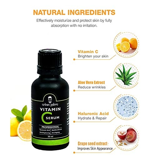 UrbanGabru Vitamin C Serum for face with hyaluronic acid, Aloe Vera extract and grape seed extract 30 ml