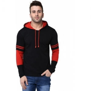 Helmont Solid cotton Blend Hooded Black, Red T-Shirt