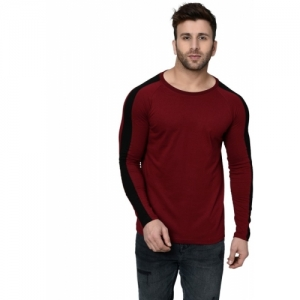 839b87cae Buy Aelomart Solid Men Round or Crew Maroon, White T-Shirt online ...