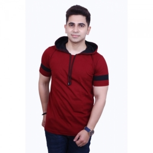 Helmont Solid Cotton Blend Half Sleeves Hooded Maroon T-Shirt