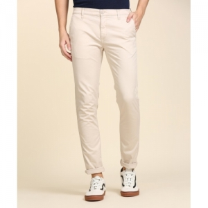 Lee Beige Cotton Slim Fit Trousers