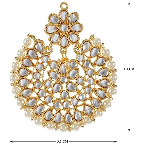I Jewels White Gold Plated Kundan With Pearl Outline Dangle & Drop Earrings