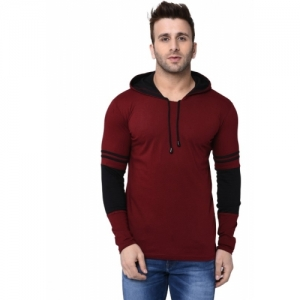 Helmont Maroon Cotton Solid Slim Fit Casual T-shirts