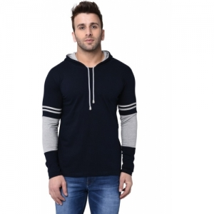 Helmont Solid Cotton Hooded Blue, Grey T-Shirt