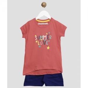Miss & Chief Orange Printed Cotton Blend Kids Nightwear Girls