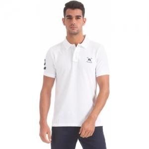 U.S. Polo Assn Solid Polo Neck White T-Shirt