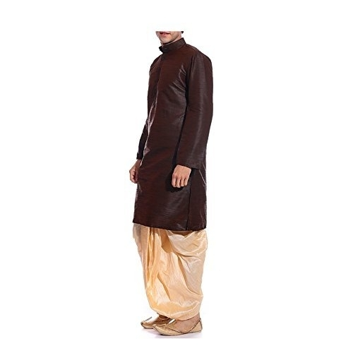 MAG Brown Silk Solid Kurta Dhoti