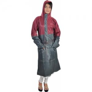 New Era Grey & Red Solid Men & Women Raincoat