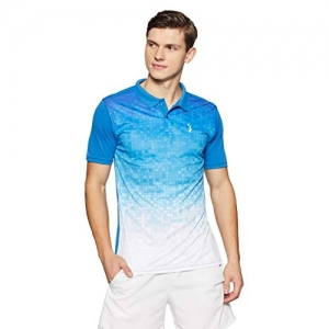 Campus Sutra Blue & White Polyester Regular Fit Polo T-Shirt