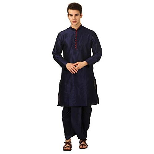 Royal Kurta Blue Silk Blend Loop Button Kurta and Dhoti Set