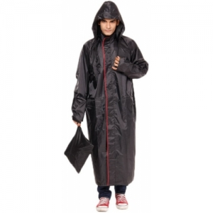 Versalis Black Solid Men Raincoat
