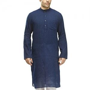 Manyavar Blue Full Sleeve Knee-Long Blended Kurta
