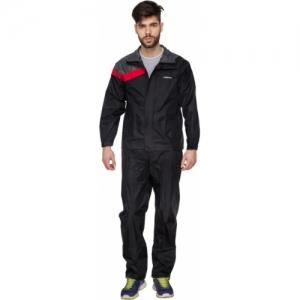 Versalis Black Solid Men Raincoat