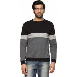 Billion Cotton Perfect Fit Striped Round Neck Grey, Black T-Shirt