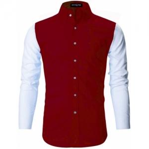 DEELMO Red Cotton Self Design Casual Shirt