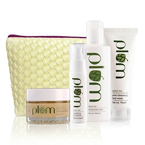 Plum Green Tea Face Care Kit With Kit Bag