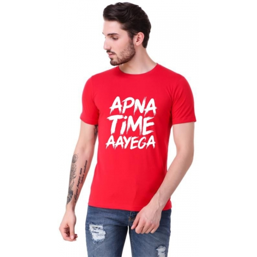 Elepants Printed Cotton Round Neck Red T-Shirt