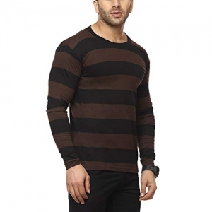 Cenizas Black & Brown Cotton Full Sleeves Round Neck T-Shirt