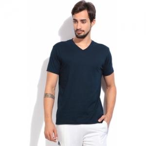 Jockey Solid Cotton Half Sleeve V-Neck Dark Blue T-Shirt