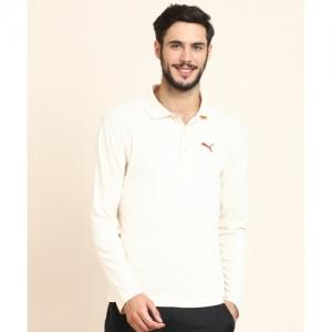 Puma Solid Cotton Blend Polo Neck Beige T-Shirt