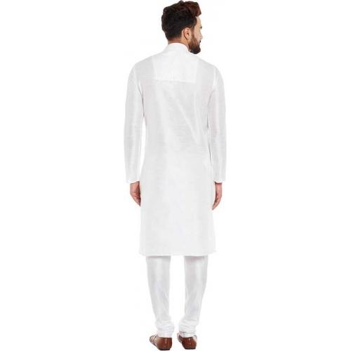 Larwa White Banarasi Dupion Kurta and Churidar Set