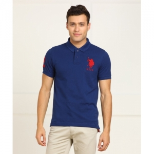 U.S. Polo Assn Solid Cotton Polo Neck Blue T-Shirt