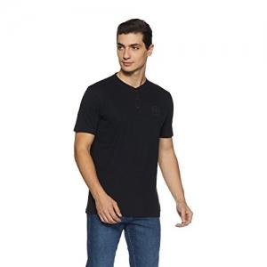 Proline Black Cotton Solid Regular Fit T-Shirt