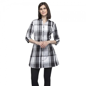 One Femme Women's Plaid Check Print Tunic