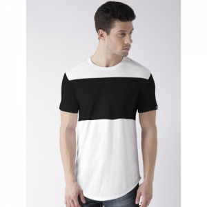 Young Trendz Color block Cotton Blend Round or Crew White T-Shirt