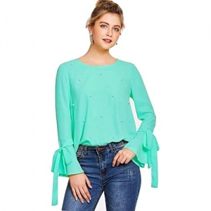 Alfa Fashion Blue Crepe Full Sleeves Flared Casual Top