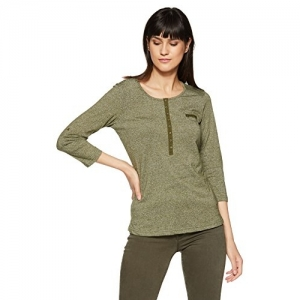 Cherokee Olive Cotton,Polyster Solid 3/4th Sleeves  Women's Top