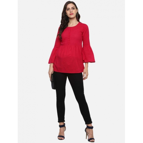 Yash Gallery Red Cotton Casual Bell Sleeve Solid  Top