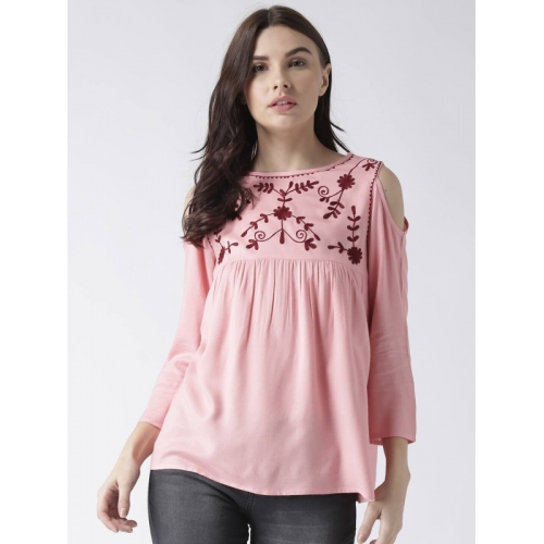 MsFQ Pink Casual 3/4 Sleeve Embroidered Top