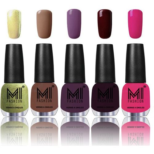 MI Fashion Bold and Beautiful Combo of 5 Extra Shine Power Lasting Nail Polish Metallic Olive Green,Muddy skin ,Dark Purple,Musky Maroon,Passion pink(Pack of 5)