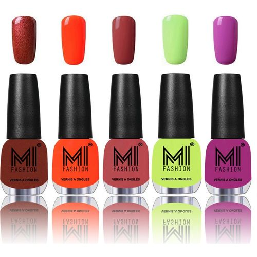 MI Fashion Bold and Beautiful Combo of 5 Extra Shine Power Lasting Nail Polish reddish bronze ,Candy Coral ,Rustic TAN ,Lime Green ,Bright Plum(Pack of 5)