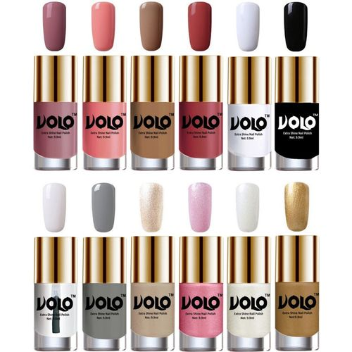 Volo Luxury Super Shine Nail Polish Set of 12 Vibrant Shades skin s Spring, Candy Cotton, Dark skin , Tan, Matte White, Black, Extra Shine Top Coat, Grey,