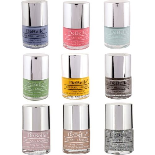 DeBelle Nail Polish Combo offer kit of 9 (Purple,Baby Pink,Mint Blue,Pastel Green,Yellow,Glitter,Pastel Purple,Light Brown,Shimmer Top Coat) Gift for girls(Pack of 9)