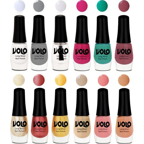 Volo Color Rich Toxic Free Perfection Shine Nail Polish Set of 12 Matte White, Extra Shine Top Coat, Grey, Passion Pink, Radium Green, Peach Pink, Hot Lava,